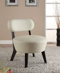 soft white bonded leather accent chair