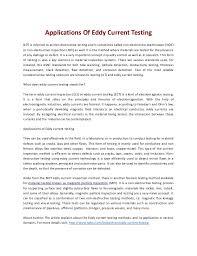Eddy Current Testing Applications Of Eddy Current Testing