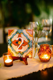 hand painted tile table numbers ashley smith buzzworthy events photography brittany rene