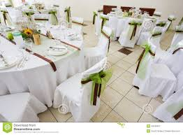 An Image Of Tables Setting At A Luxury Wedding Hall Royalty Free