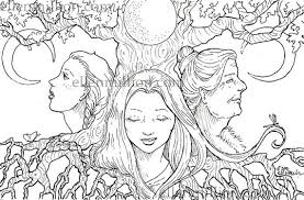 Small Picture Mother Maiden Crone Digi Stamp Digital Coloring Page for