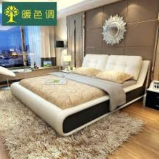aliexpress furniture bedroom furniture sets modern leather queen size storage bed frame with two nightstands no