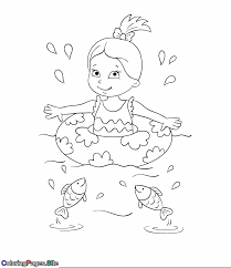 Girl Swimming In The Sea With Fish Coloring Page Summer And Pages