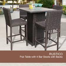 rustico pub table set with barstools 5 piece outdoor wicker patio furniture com