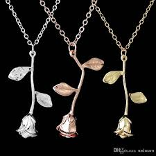 whole beauty flower rose necklace silver rose gold pendants chain the beast fashion jewelry for women valentine s day gift drop ship 162496 silver chain