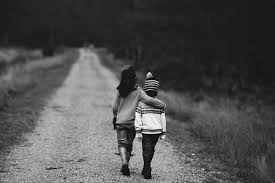 Image result for two little kids walking on a road vintage