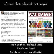Minitaire Paint Conversion Chart Reference Photo Album Of Multiple Hobby Paint Ranges
