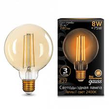 Светодиодная <b>лампа GAUSS 105802008 Filament</b> Golden E27 ...