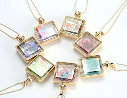 glass locket necklaces small silver floating