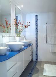 Blue Bathroom Accessories Toilet In Light Brown Tile Wall Floor ...