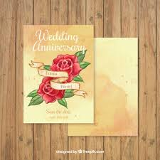 Hand Drawn Roses Wedding Anniversary Card Vector Free Download