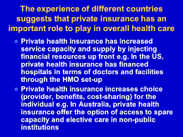 the experience of diffe countries suggests that private insurance has an important role to play in