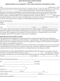 With support from the national association of insurance commissioners and the u.s. Oklahoma Risk Retention Group Form Part B Appointment Of Attorney To Accept Service And Designation Download Fillable Pdf Templateroller
