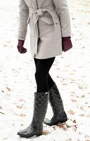 Winter Outfit // grey coat, black leggings, black quilted hunter ... & Winter Outfit // grey coat, black leggings, black quilted hunter boots,  black Adamdwight.com