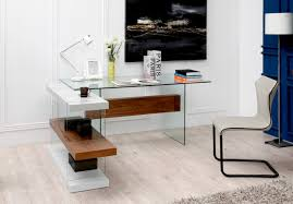 Office shelving unit Modular Contemporary Office Desks Stylish Accessories Prime Classic Design Glass Desk In White And Walnut With Shelving Unit New York New