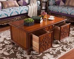 living room furniture carving wood tea table