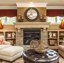fireplace idea could put tv over mantle and then decorate the tops of bookshelves