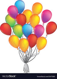Colorful Bunch Of Birthday Balloons Flying For