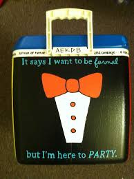 cooler idea except use this may be formal but i m here to party and put letters in bow tie or hair bow if for spring break