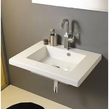 bathroom sink tecla mar01011 rectangular white ceramic wall mounted or drop in sink