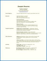 Resume Template Student College Example Of High School Resumees Student Career Objectives
