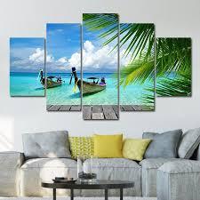 tropical boat multi panel canvas wall art on boat canvas wall art with tropical boat multi panel canvas wall art elephantstock