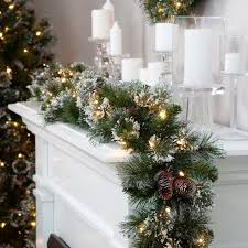 glittery pre lit pine garland