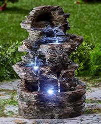 Lighted Water Fountain Outdoor Decor Outdoor Fountains 20507 Led Lighted Water Fountain Stacked