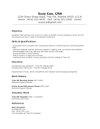 Resume Examples With No Experience Pre Nursing School Cna Sample