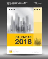 yellow vertical desk calendar 2018 cover template vector