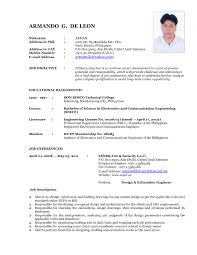 Latest Resume Samples For Freshers Sample Resume Format For Fresh Graduates Single Page Examples 2
