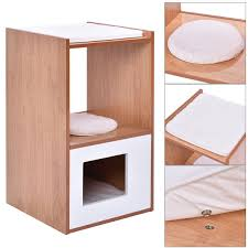 meow town mdf litter box. Double Deck Cat Box Cushion Cleaning Enclosure Hidden Pet Bed Furniture Wood New Meow Town Mdf Litter O