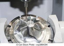 cnc machine working. cnc machine tool - tools in the work working