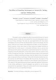 Prewriting Techniques Pdf The Effect Of Prewriting Techniques On Yemeni Efl