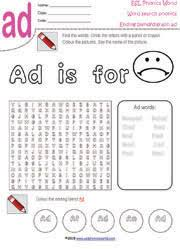 Word With Ad Phonics Wordsearch Worksheets Kids Word Search Puzzles