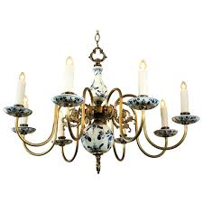 beautiful blue and white delft chandelier circa at pertaining to blue white porcelain chandelier