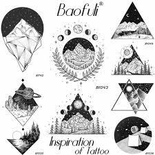 мужской геометрический круглый треугольник временная татуировка