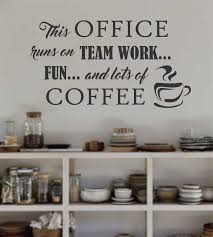 office decor ideas. Office Runs On Coffee Vinyl Wall Decal Breakroom Lettering Decor Ideas
