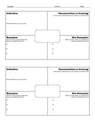 Frayer Model Template 6 Per Page Frayer Model 2 Per Page