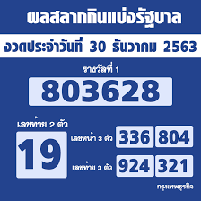 ตรวจหวย' ผลสลากกินแบ่งรัฐบาล งวด 30 ธันวาคม 2563