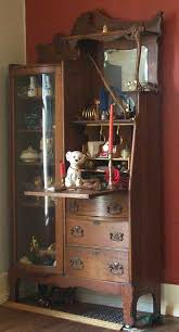 antique oak secretary with curved glass curio cabinet for antiques com classifieds