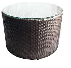 wicker patio side table outdoor round coffee with glass top contemporary grey