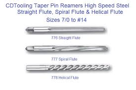 Taper Pin Reamers Sraight Spiral Helical Flute Hss Sizes 7 0 To 14