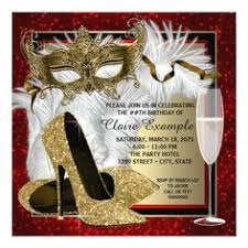 442 Best Red Gold Birthday Party Invitations Images In 2019