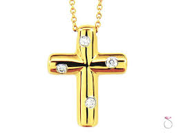 details about tiffany co etoile diamonds cross pendant necklace in 18k yellow gold 16 inch