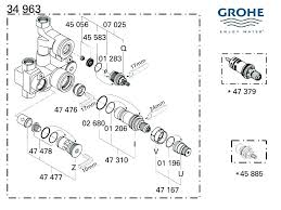 grohe shower parts valve mixer grohe avensys modern exposed 34222 000 shower spares and parts dual control thermostatic mixer