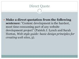 Direct Quote Best PRACTICE InText Citations Direct Quote Make A Direct Quotation