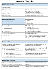 employer emergency contact form template how to create a new hire checklist free downloadable template