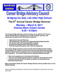 bridging the gap life after high school monday 6 will be the 8th annual career bridge advisory council s bridging the gap life after high school seminar we hope you can join us