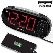 housbay digital alarm clock with dual usb charger